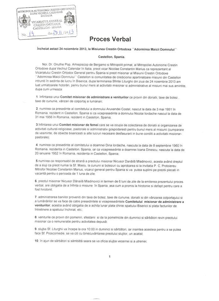 Proces-verbal incheiat la 24.11.2013 la Vicariatul Ortodox General al Spaniei - Castellon 1