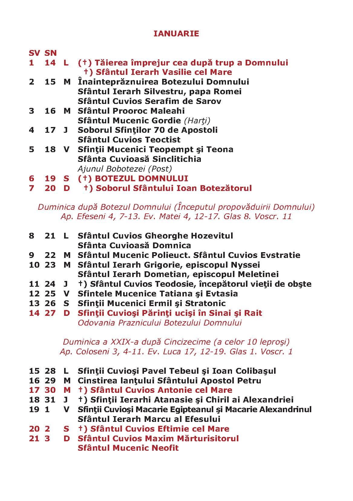 Calendar Crestin Ortodox Stil Vechi 2016 | Calendar Template 2016