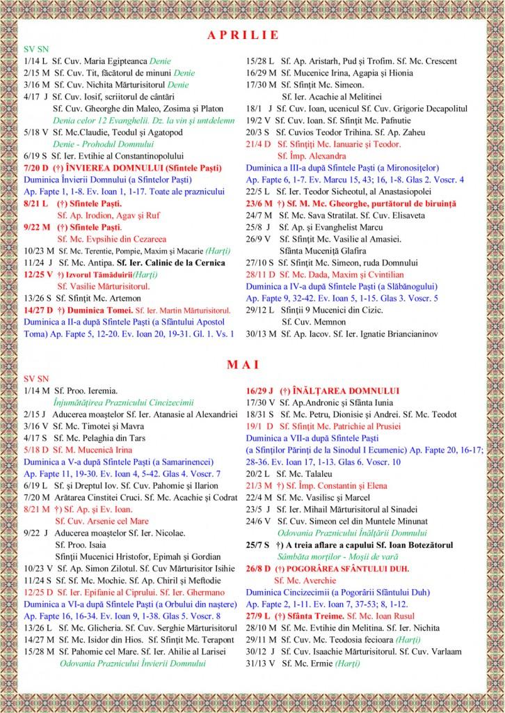 Calendar Crestin Ortodox 2015 Gratis | 2015 Calendar Printable