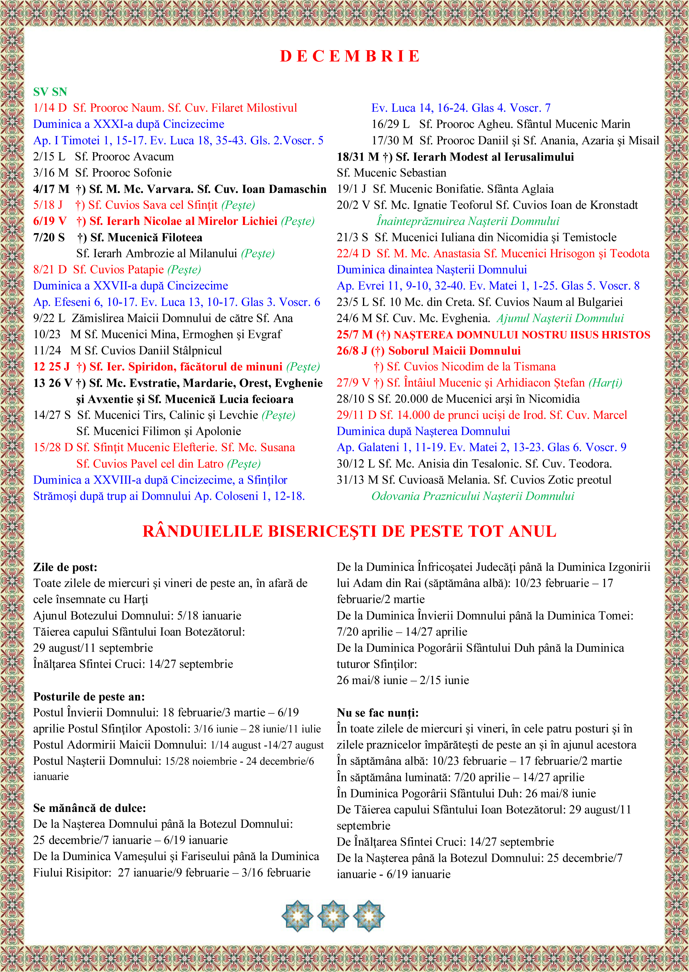 Calendar Crestin Ortodox 2016 Pe Stil Vechi | Calendar Template 2016