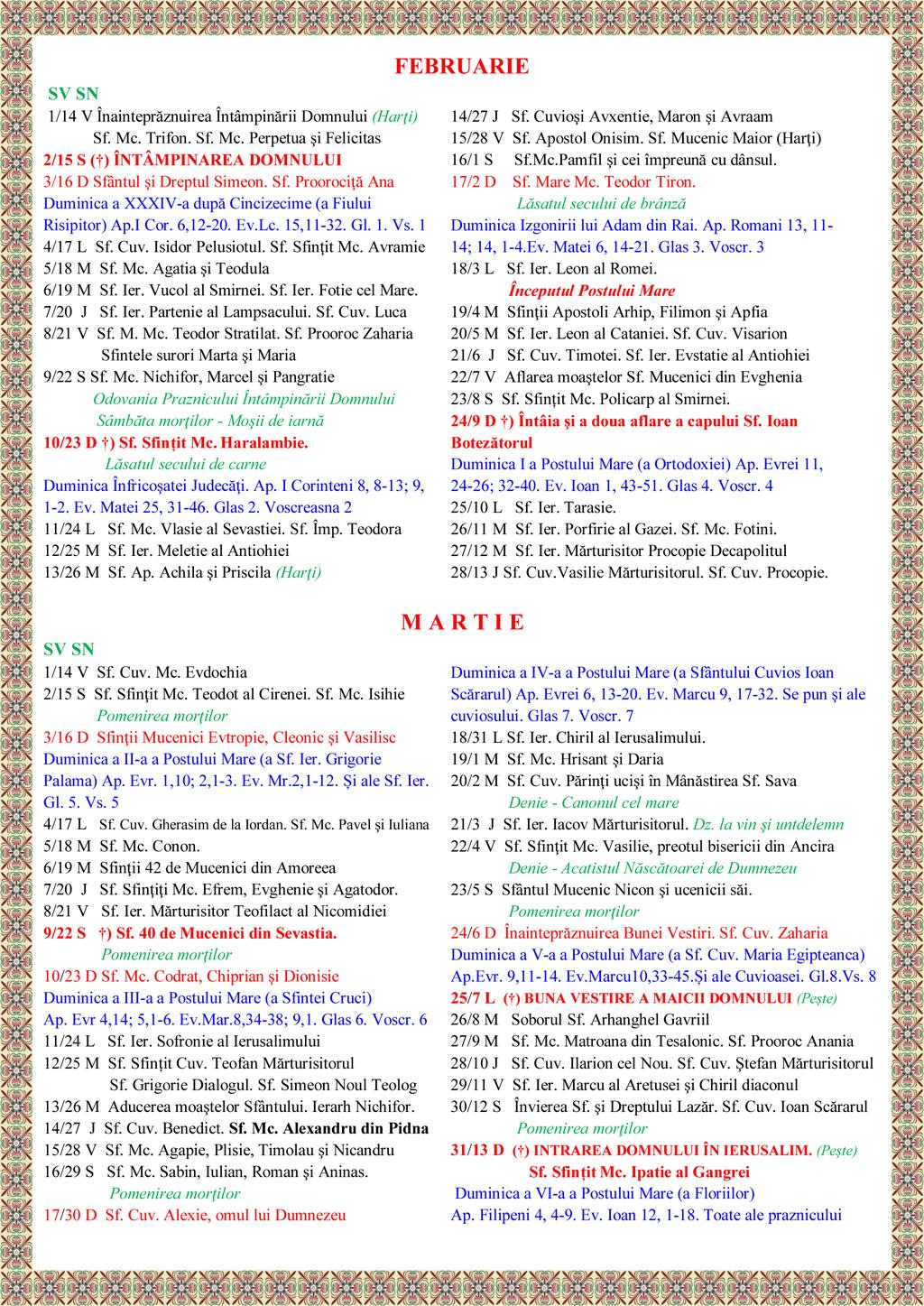 Calendar Ortodox Stil Vechi 2016 | Calendar Template 2016