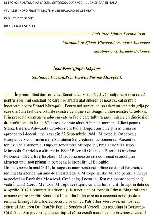 Scrisoare adresata Mitropolitului Ioan al Americii de Nord si Sud si Insulele Britanice 1