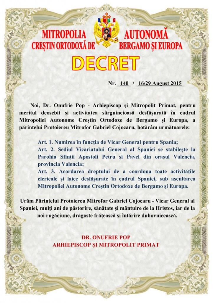 DECRET DE NUMIRE PR GABRIEL COJOCARU