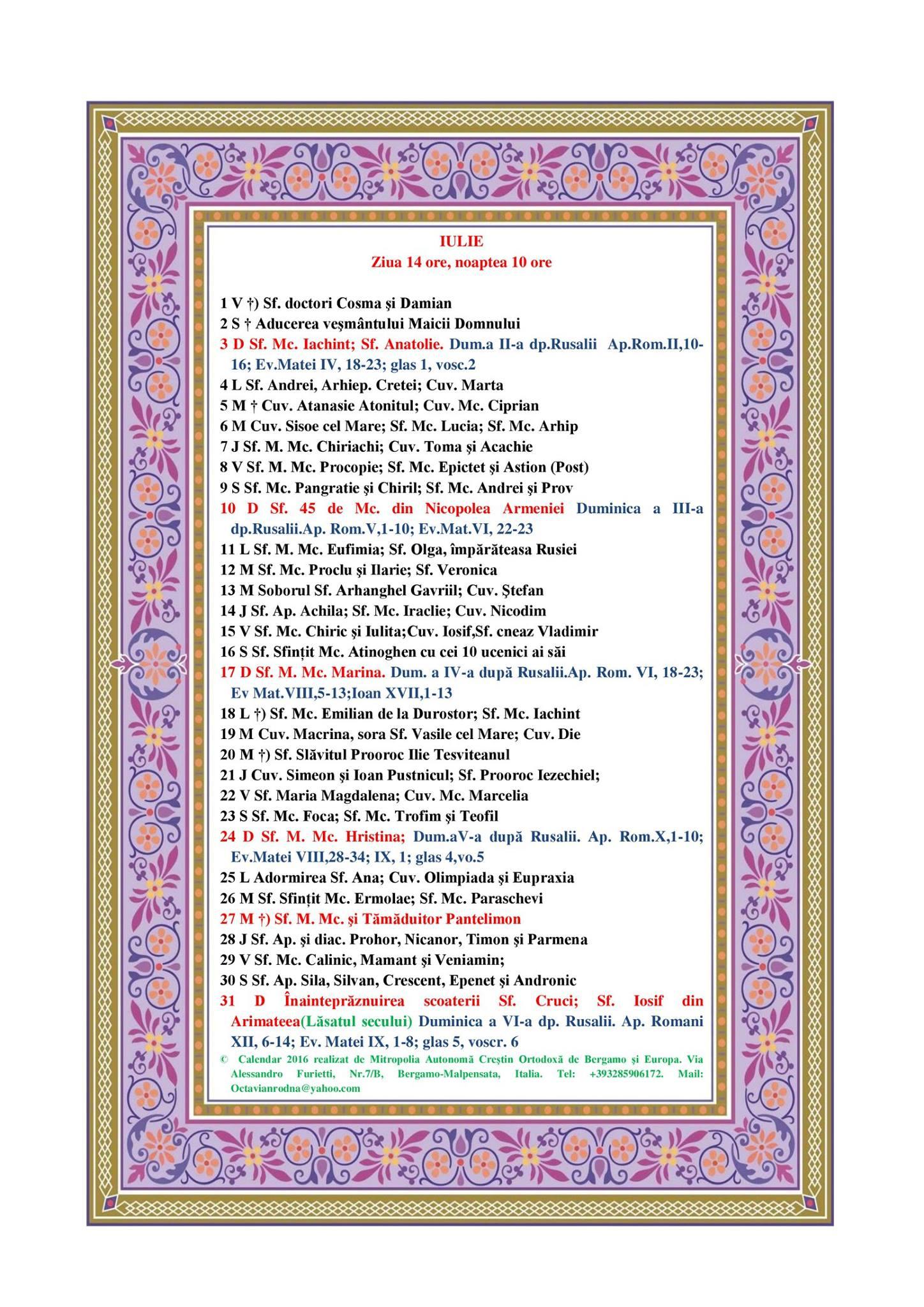 Calendar Ortodox 2016 Februarie | Search Results | Summary Daily ...