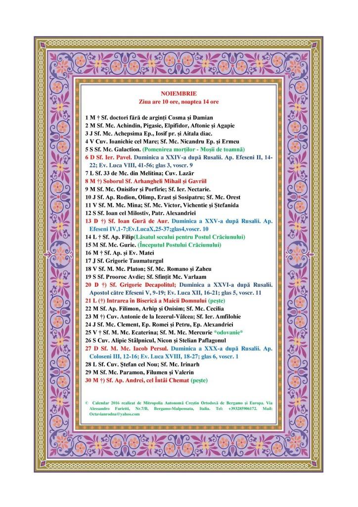 21 noiembrie calendar ortodox