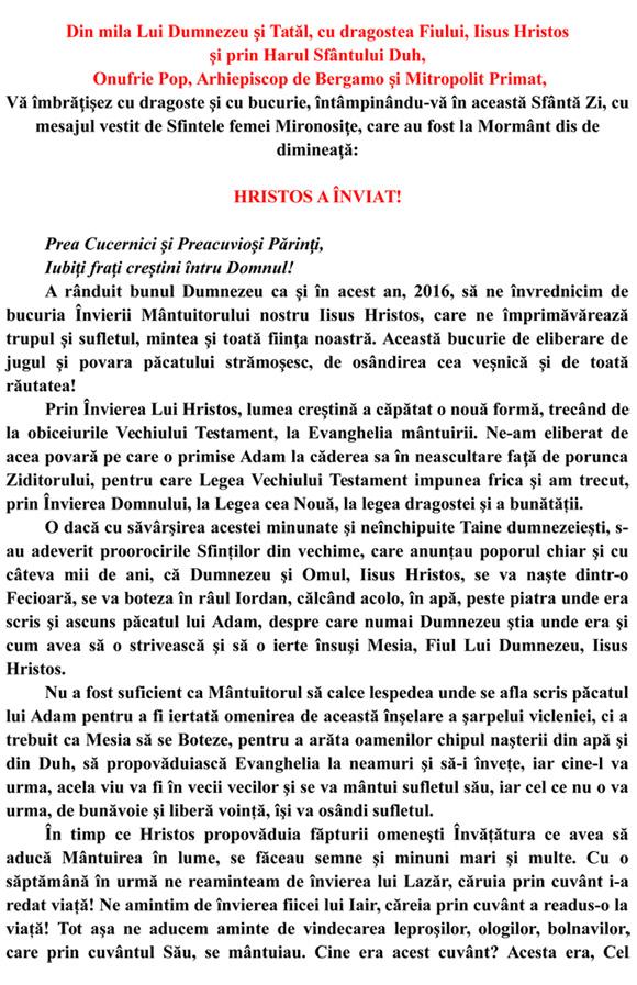 PASTORALA DE PASTI DIN ANUL MINTUIRII 2016-2
