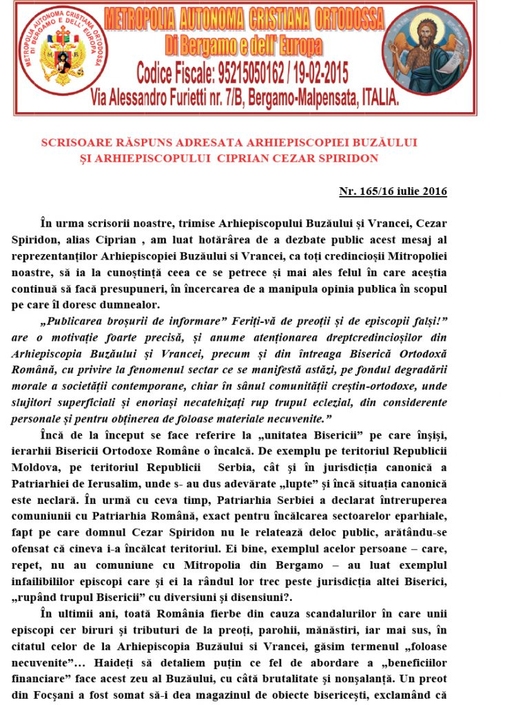Microsoft Word - SCRISOARE CA RASPUNS ADRESATA ARHIEPISCOPIEI BU