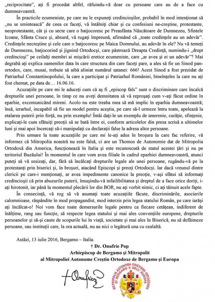 SCRISOARE DESCHISA ADRESATA ARHIEPISCOPULUI CIPRIAN SPIRIDON-2