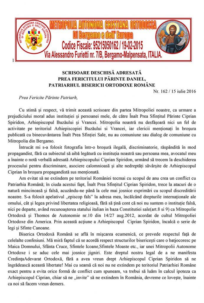 SCRISOARE DESCHISA ADRESATA PATRIAHULUI DANIEL AL  BOR-1