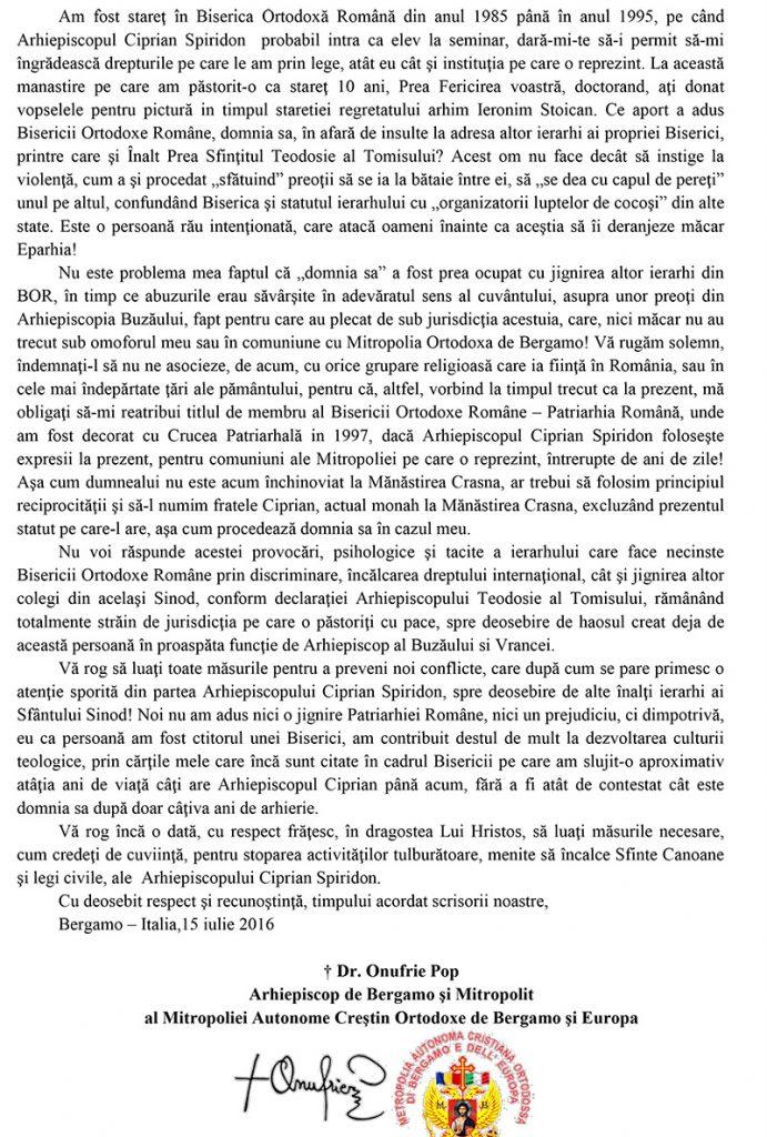 SCRISOARE DESCHISA ADRESATA PATRIAHULUI DANIEL AL  BOR-2