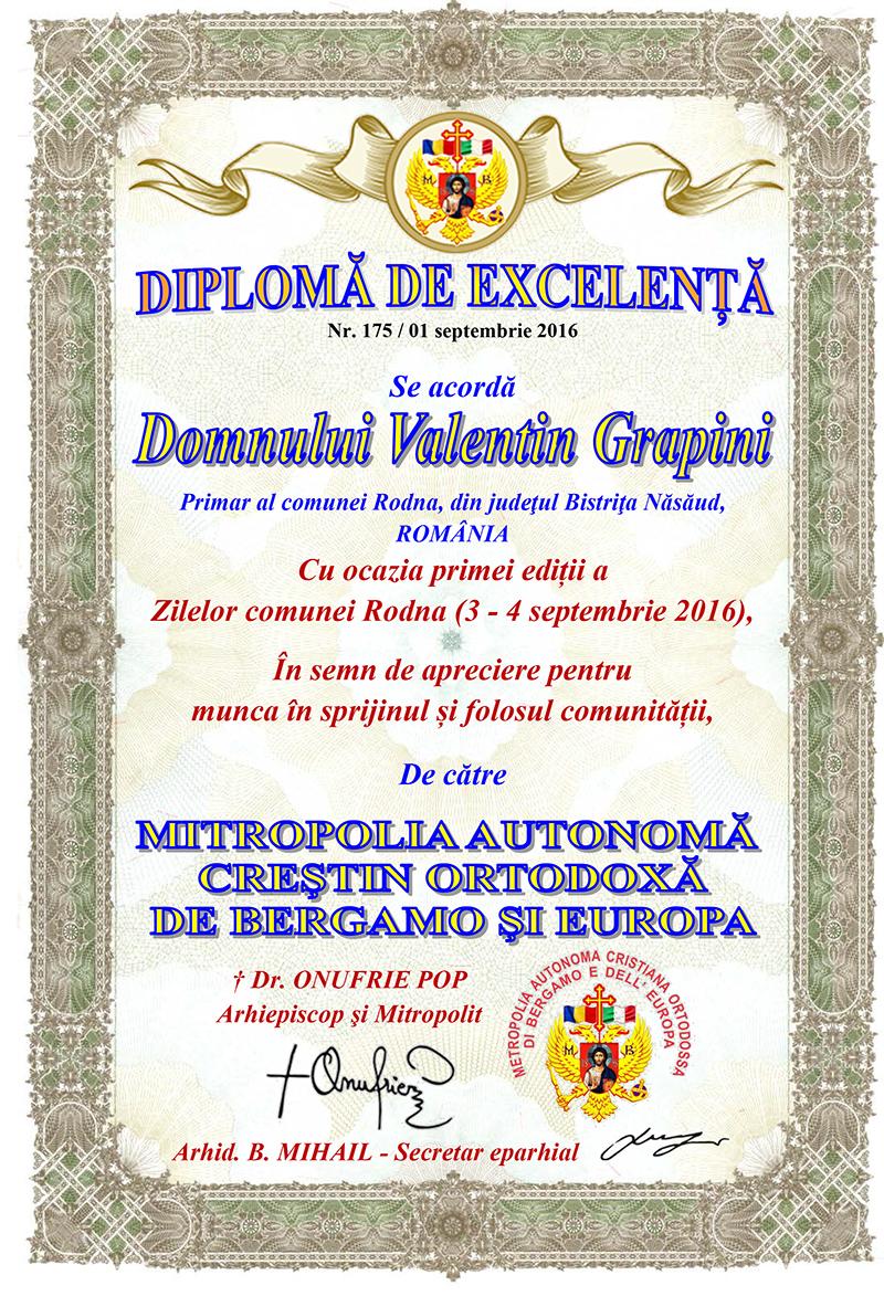 DIPLOMA DE EXCELENTA PENTRU PRIMARUL COMUNEI RODNA