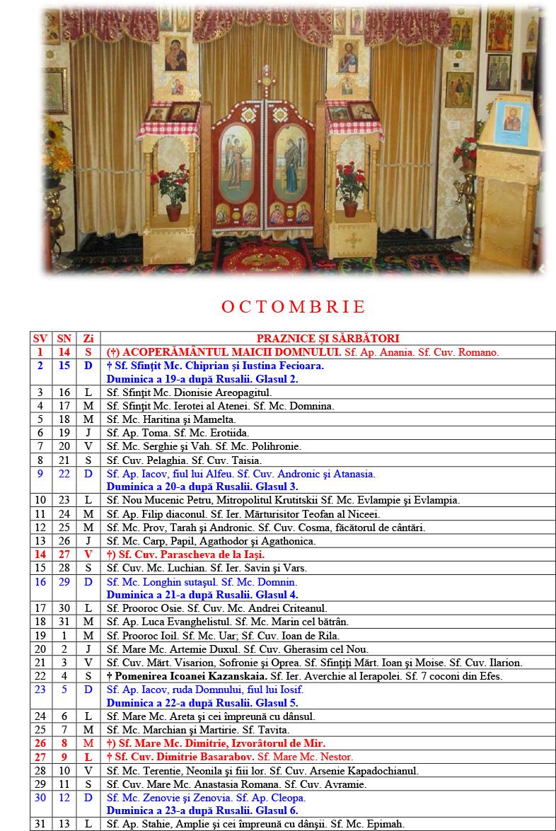 Calendar Ortodox Pe Vechi 2016 | Calendar Template 2016