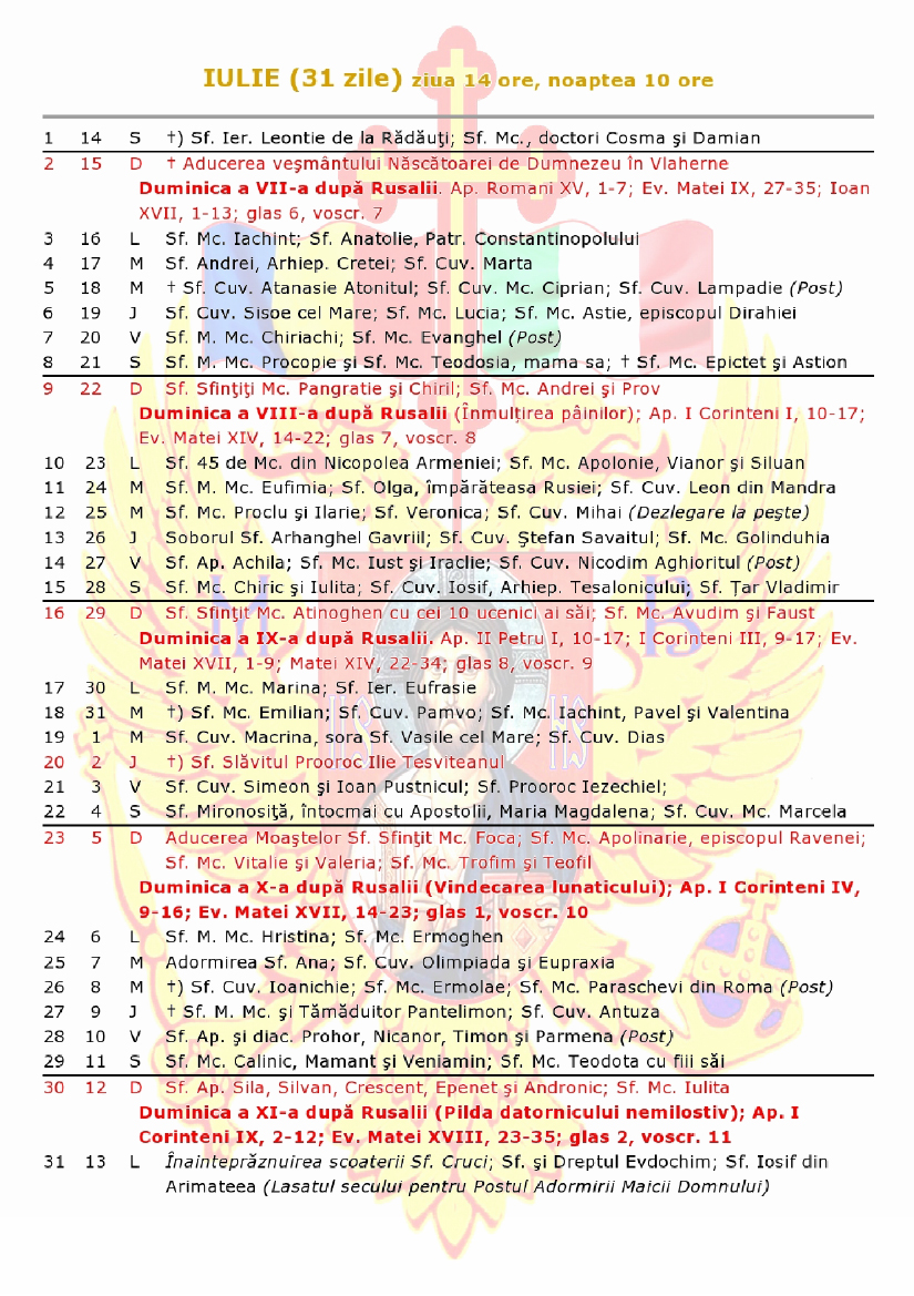 CALENDAR CRESTIN ORTODOX DE STIL VECHI 2018 – Mitropolia ...